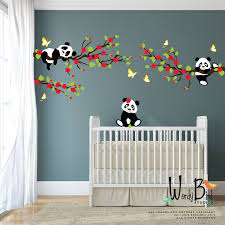 Panda Wall Decals Tree wall decals with Cherry Blossom