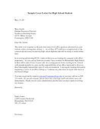 Cover Letter Sample Student Cover Letter Sample High School
