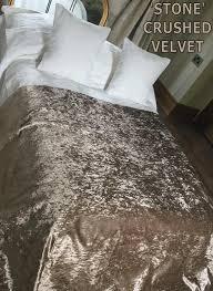 stone crushed velvet bedspread runner