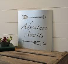 adventure awaits metal sign graduation gift nursery art gifts design ideas of ten commandments wall art