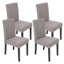 4x Esszimmerstuhl Stuhl Küchenstuhl Littau Textil Grau Dunkle Beine