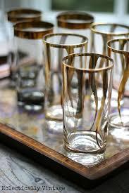 vintage mid century gold glassware very mad men