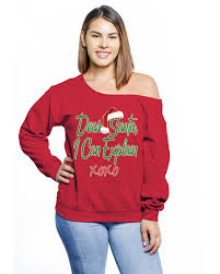 Awkward Styles Santa Off Shoulder Plus Size Tops For Women Matching With Pajamas
