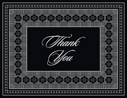 Grey Black Classic Lotus Borders Thank You Cards