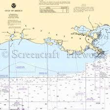 Louisiana Gulf Coast Nautical Chart Decor