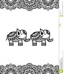 Mehndi индийский дизайн татуировки хны с слонами иллюстрация штока