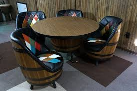 vintage mid century whiskey barrel bar table 4 chairs mcm