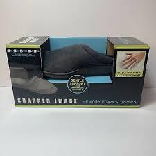 Sharper Image Memory Foam Slippers Men Women Tan