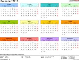 Kalender 2015 Excel Kalender 2015 In Excel Zum Ausdrucken 16 Vorlagen