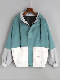 hooded color block corduroy jacket blue green s