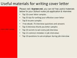 Sample Cover Letter For In A School School Nurse Cover Letter