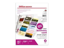 2in Binder Office Depot Business Card Binder Pages 8 1 2in X 11in Clear Pack Of 25 706182 Newegg Com