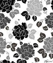 Fotobehang Bloemen Zwart Wit Seamless Floral Wallpaper Nikkel Art