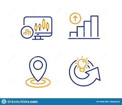 Location Chart Candlestick Chart Graph Chart And Location Icons Set Share