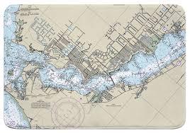 Nautical Charts Cape Coral Florida Fl Cape Coral Fl Nautical Chart Memory Foam Bath Mat