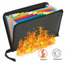 <b>Fireproof</b> File <b>Folder Portable</b> File Organizer,13 Pockets <b>Fireproof</b> ...