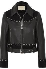 black jackets maje womens embellished suede trimmed leather jacket black makekaos