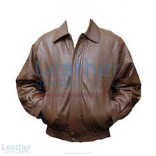 classic brown er leather jacket front view