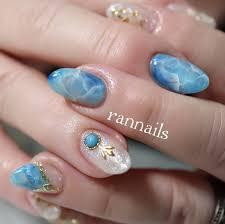 春夏海リゾート水色 Rannailsのネイルデザインno4200328