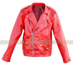 uni punk leather skin red brando belted jacket
