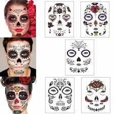 хэллоуин временное лица Art водонепроницаемый маска сахара череп татуировки