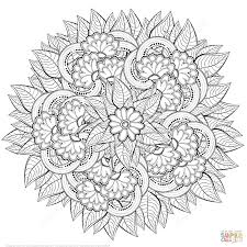 Small Picture Abstract Flowers Zentangle coloring page Free Printable Coloring