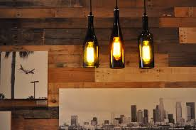 3 wine bottle pendant lamp design come with glass material bottle and also black cable design