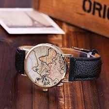 <b>Retro</b> Wrist Watch - <b>Personality Vintage</b> World Map Pattern <b>Roman</b> ...