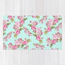 pink mint green fl rug