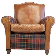 small leather chair. Small Scale Club Chair In Leather And Tartan Plaid For Uk H