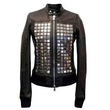 sel black gold leather jacket with silver studs for