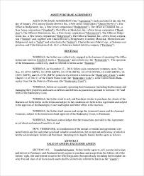 Purchase Agreement Samples Asset Purchase Agreement Template Asset Purchase Agreement 7 Free
