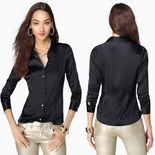 S XXXL <b>women Fashion silk satin blouse</b> button ladies <b>silk blouses</b> ...