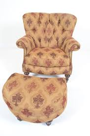thomasville wingback chair studded with ottoman casters wooden legs gold maroon