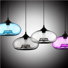 (In Stock)Modern Glass Pendant Light Hand Blown Colorful Bell Shaded with 1  Light