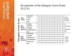 Glasgow Coma Scale Assessment Chart Emergency Care Interventions Neurological Assessment