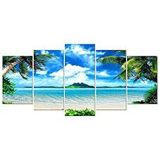 pyradecor modern 5 panels blue sea beach pictures paintings on canvas wall art stretched and framed contemporary landscape ocean giclee canvas prints  on amazon beach canvas wall art with amazon pyradecor seashell 5 panels seascape giclee canvas