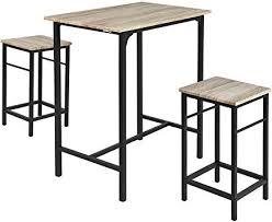 Amazonfr Table Haute Bar Et 2 Tabourets Cuisine Maison
