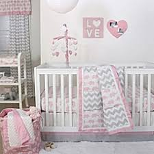 The Peanut Shell Elephant Crib Bedding Collection in Pink Grey