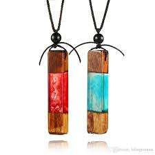 secret forest wooden necklace rainbow wood resin sea necklaces crystal pendant wrapping irregular stone necklaces for women jewelry candy stone necklaces