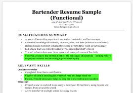 Bartender Resume Skills Jmckell Com