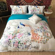 trendy pink white green and blue peacock and flower print sophisticated elegant luxury egyptian cotton full queen size bedding sets