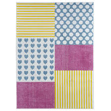 harriet bee carlwirtz patchwork pink yellow blue area rug