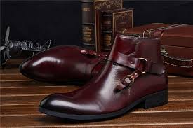 black brown tan mens ankle boots dress shoes genuine leather mens business boots with buckle office shoes