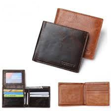 rfid blocking men s purse genuine leather bifold anti theft credit card wallet light brown cod