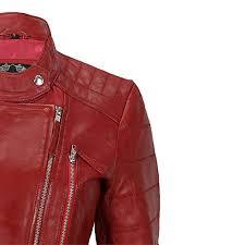 las women vintage soft real leather biker jacket black red size uk 8 10 12 14