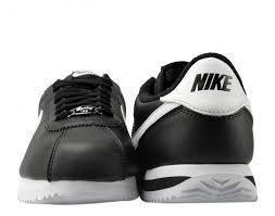 nike cortez basic leather black white silver men s running shoes 819719 012 free at nycmode