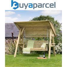 details about zest 4 leisure miami wooden garden swing seat bench with roof canopy
