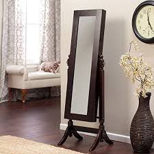 elegant brown wooden frame full length mirror wall standing jewelry armoire