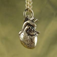anatomical heart necklace bronze